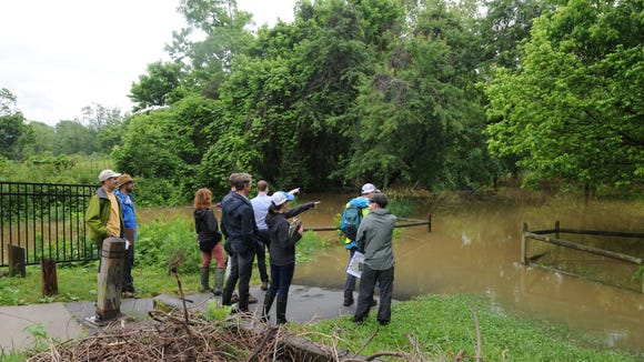 Members of RiverLink and the design team from Nelson Byrd Woltz Landscape Architects inspect the flooded Karen Cragnolin Park at its boundary with Carrier Park on Wednesday, May 30.