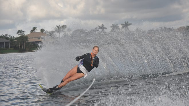 Gale Hoge water skis on the freshwater lake at The Harborage in South Fort Myers.