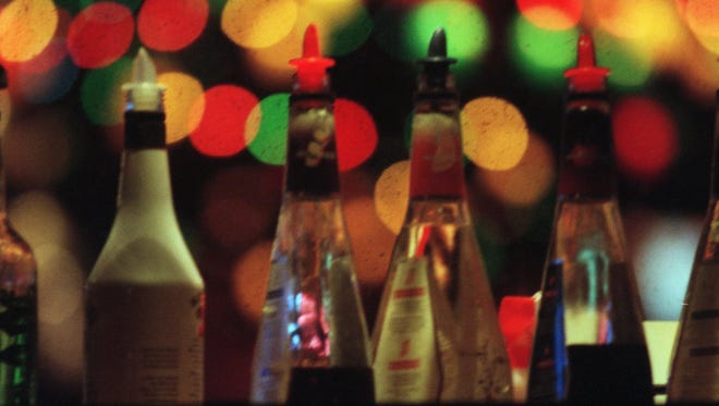 Bottles of alcohol in a bar.