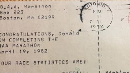 Don Winkley received a postcard with his times after the 1982 Boston Marathon.