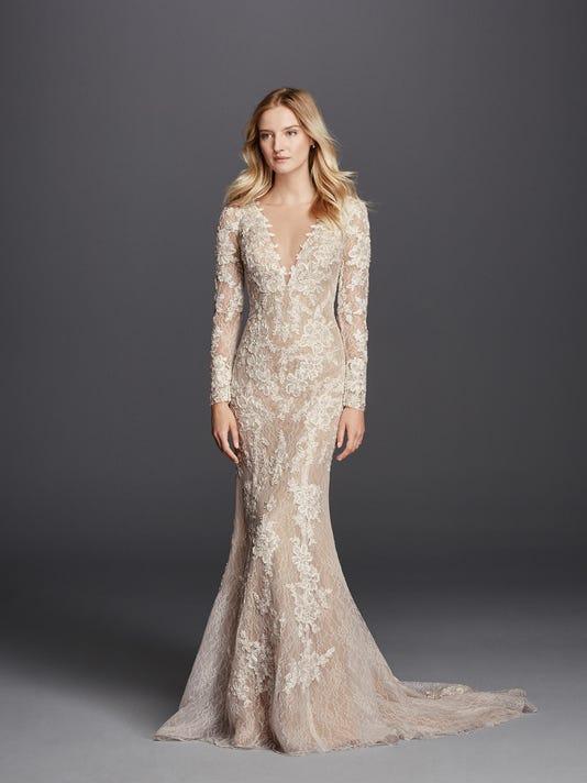 31cc3255 Galina Signature Beaded lace wedding dress ranging at $1,450 to $1,500.  (Photo: COURTESY OF DAVID'S BRIDAL)