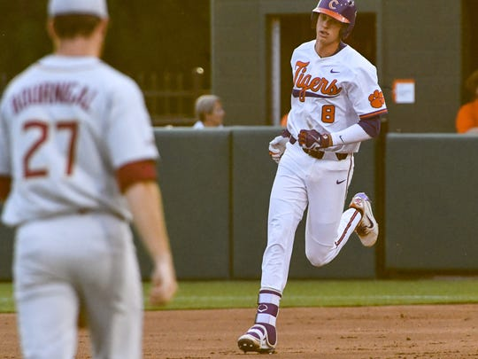 Clemson sophomore Logan Davidson (8) hit a two-run home run against Florida State during the bottom of the third inning on Monday at Doug Kingsmore Stadium in Clemson.