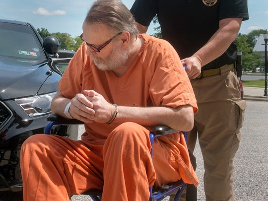 In this file photo from Aug. 24, 2016, Thomas Markowski is wheeled into District Court 19-3-04 in Shrewsbury Township for his preliminary hearing. He was found guilty of all charges on Tuesday and now faces at least 20 to 40 years in prison.