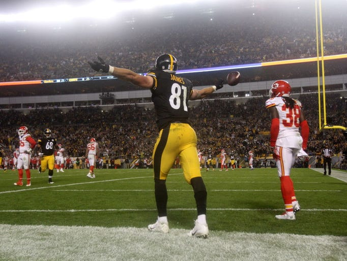 Steelers tight end jesse james 81 celebrates a touchdown