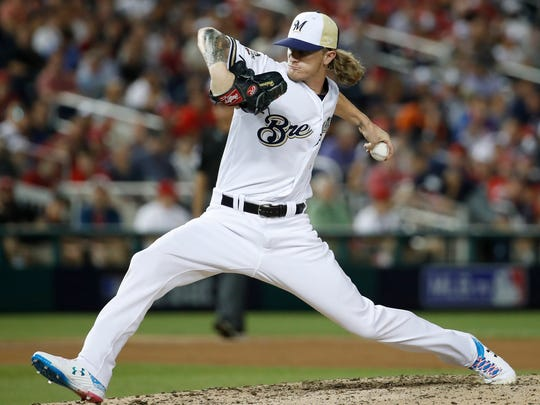 Milwaukee Brewers pitcher Josh Hader (71) throws during the eighth inning at the Major League Baseball All-star Game, Tuesday, July 17, 2018 in Washington. (AP Photo/Alex Brandon)