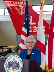 Governor Kay Ivey announces that the 187th Fighter Wing will be getting the F-35 Fighter jets during a ceremony in Montgomery, Ala. on Thursday December 21, 2017.