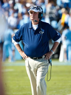 Georgia Tech Yellow Jackets head coach Paul Johnson looks on from the sidelines against the North Carolina Tar Heels at Kenan Memorial Stadium.