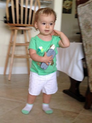 Isabella wears her lucky St. Patrick's Day shirt while playing at her grandma's house this past weekend. ISabella has Irish from both sides of her family.