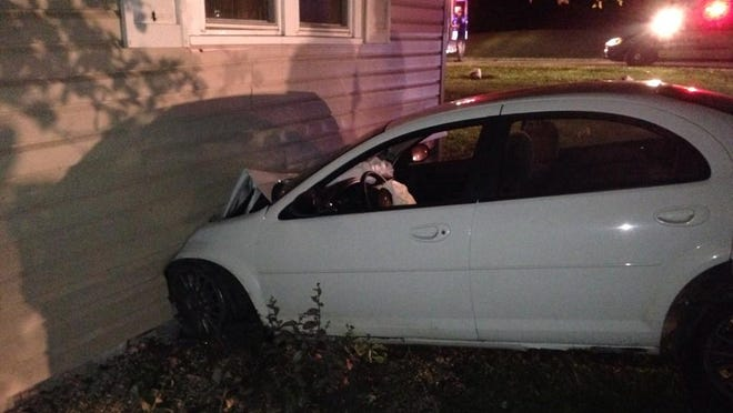A car crashed into a house on River Road in Yorktown early Tuesday.