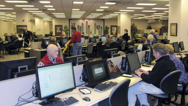 People researching at the Family History Library of the Church of Jesus Christ of Latter-day Saints in Salt Lake City.