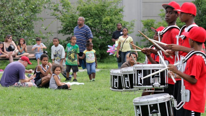 The drummers from the Nepperhan Community Center Youth Corps play during Summerfest at Beczak Environmental Education Center in Yonkers on Aug. 13, 2011.