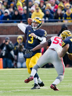 Michigan quarterback Wilton Speight (3) throws a pass against Ohio State in Ann Arbor on Nov. 28, 2015.
