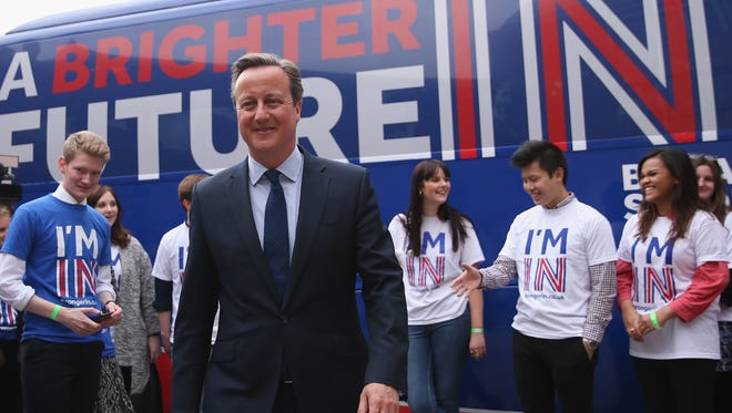 British Prime Minister David Cameron joins students at the launch of the 'Brighter Future In' campaign bus at Exeter University on April 7, 2016 in Exeter, England.