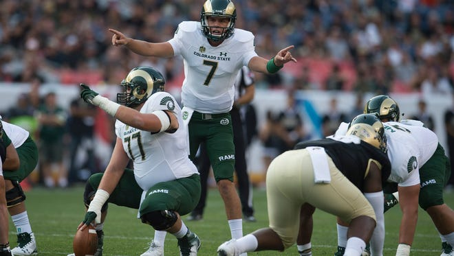 CSU quarterback Nick Stevens calls out a play as the Rams take on CU during the Rocky Mountain Showdown at Sports Authority Field at Mile High in Denver on Friday, September 1, 2017.