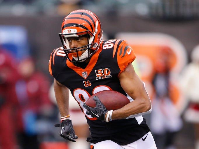 Cincinnati Bengals wide receiver Josh Malone runs during