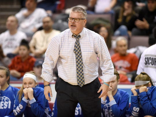 Cedar Crest coach Jim Donmoyer calls out instructions
