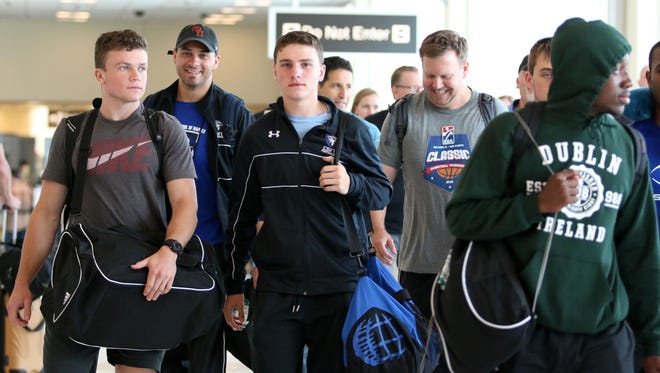 Community School of Naples football players arrived in Fort Myers on Sunday, Sept. 4, 2016 after making the nearly 5,000-mile trip to Dublin, Ireland for the American Football Showcase.