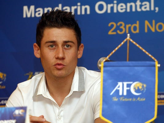 FILE - In this Nov. 22, 2011 file photo, Uzbekistan's Server Djeparov, nominee for the Asian Football Confederation (AFC) Player of the Year, speaks during a press conference in Kuala Lumpur, Malaysia. If the 2015 Asian Cup is wide open, Group B with Uzbekistan, China, North Korea and Saudi Arabia appears to be the toughest section of the draw to split. All four contenders have ambitions of making the latter stages. The Uzbek team will be led by playmaker Djeparov.  (AP Photo/Lai Seng Sin, File)