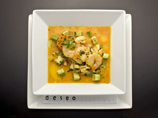 The mixto clasico ceviche with lobster, shrimp, scallops, calamari, octopus , crab, red onion and sweet potato from Deseo at the Westin Kierland.