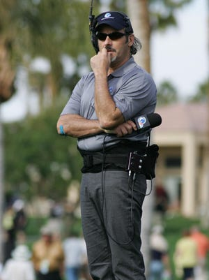Golf channel commentator and personality David Feherty watches the action during the final round of the Humana Challenge on the Palmer Private Course, Sunday January 22, 2012. Michael Snyder ,The Desert Sun.