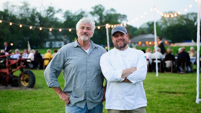 """The late Matt Haley, founder of the SoDel Concepts restaurant group, (left) shown with SoDel Concepts vice president and corporate chef Douglas Ruley at the 2015 MidAtlantic Wine + Food Festival, proposed this year's festival's new """"Breaking Bread Behind Bars"""" dinner."""