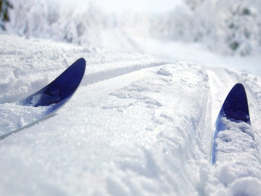 Ground level view of cross country skiing