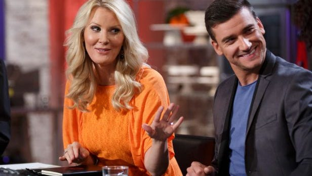 "Moorpark-based chef Damiano Carrara, right, shares the judges' table with celebrity chef Sandra Lee in an episode of the Food Network series ""Halloween Baking Championship."""