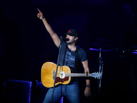Country recording artist Luke Bryan performs during his Farm Tour in Boone on Friday, Sept. 30, 2017.
