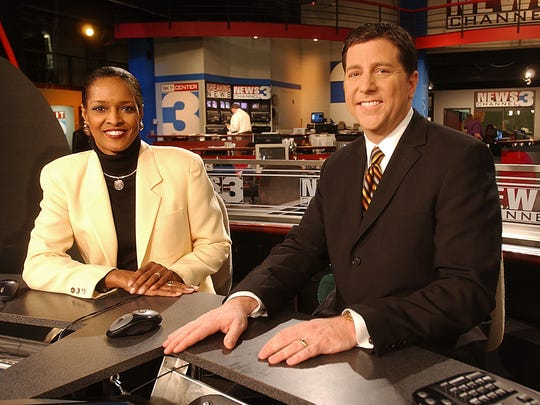 Claudia Barr, now retired, is seated with Richard Ransom in the WREG Channel 3 studio.