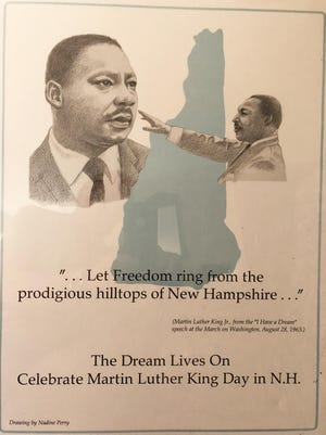 "This drawing by Nadine Perry highlights a quote from Dr. Martin Luther King's ""I Have a Dream"" speech of Aug. 28, 1963."