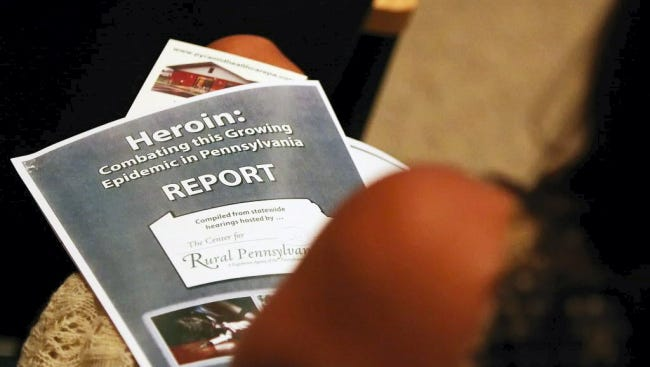 Attendees of a Sept. 29 town hall meeting hosted by the York County Heroin Task Force received a copy of a heroin report from the Center for Rural Pennsylvania.
