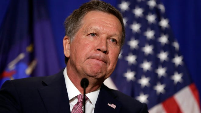 Republican presidential candidate, Ohio Gov. John Kasich listens to questions during a news conference in New York, Thursday, March 31, 2016.