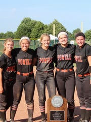 Powell's seniors with the state Class AAA runner-up trophy after losing to Gibbs in the championship game in May in Murfreesboro. From left are Brittney Franse, Kiley Longmire, Madison Tidmore, Karsten Miller and Ashley Wheeler. The seniors compiled a record of 152-70-1 in their four seasons at Powell.