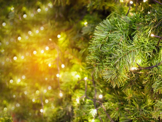christmas tree with bokeh light background