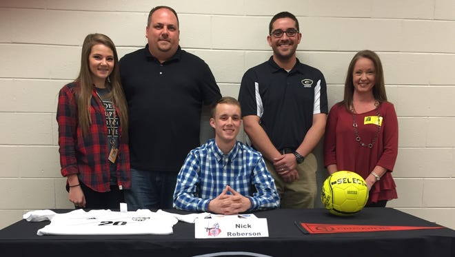 Greer High School senior Nick Roberson has signed to continue his soccer career at North Greenville University.