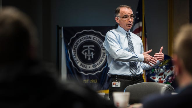 February 14, 2018 - JW Sean Healy, FedEx Freight senior vice president of transportation, planning and strategy, speaks to Traffic Club of Memphis at Assisi Foundation of Memphis on Wednesday.