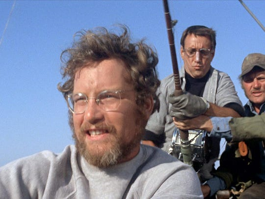 """Above, Richard Dreyfuss, Roy Scheider and Robert Shaw in a scene from the 1975 motion picture """"Jaws."""" The movie has been digitally restored and is being re-released on Blu-Ray. Photo by Universal Pictures [Via MerlinFTP Drop]"""