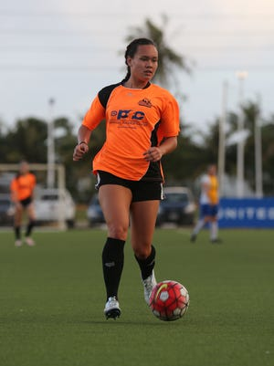 Guam soccer standout Colleen Naden is pictured from a recent match of the Bud Light Women's Soccer League Premier Division. Naden, along with teammate Skyylerblu Johnson, will take part in a special women's soccer tryout session at Hawaii Pacific University this week.