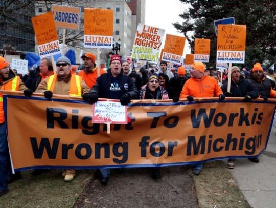 """A """"right to work"""" law in Michigan in 2013 triggered"""