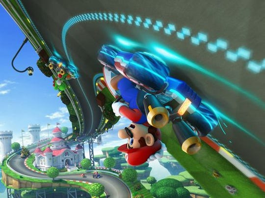 Mario Kart 8 for the Nintendo Wii U features new anti-gravity sections on its tracks.