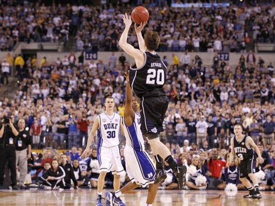 Oh, so close. Gordon Hayward's halfcourt shot rimmed out at the buzzer, leaving the Bulldogs as national runners-up to Duke at Lucas Oil Stadium in 2010.
