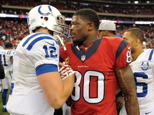 The Indianapolis Colts signed Andre Johnson, shown here in November of 2013, as a free agent Wednesday.