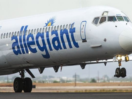 An Allegiant Airlines flight takes off at Williams Gateway Airport in Mesa.