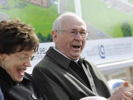 Evelyn and Robert Hackler share a light moment during a groundbreaking ceremony for the Hackler Intermediate School on Feb. 27, 2009.