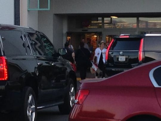 Justin Bieber was seen exiting the Target store in Palm Desert on Thursday, April 9, 2015.
