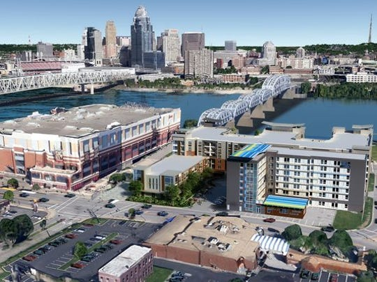 A rendering of the proposed mixed-use development adjacent Newport-on-the-levee