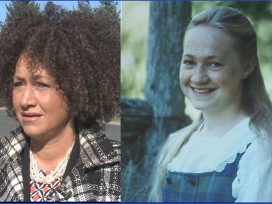On the left, a recent image of Rachel Dolezal, once president of the Spokane, Washington, chapter of the NAACP. On the right, a photo of a younger Dolezal provided by her parents.