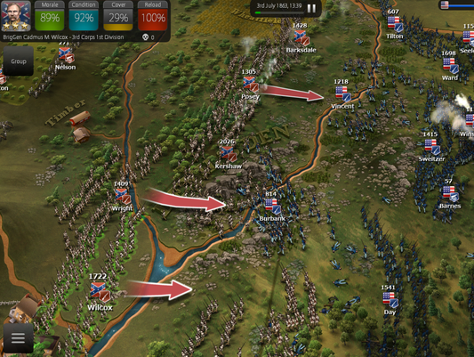 A screen shot of the game Ultimate General: Gettysburg