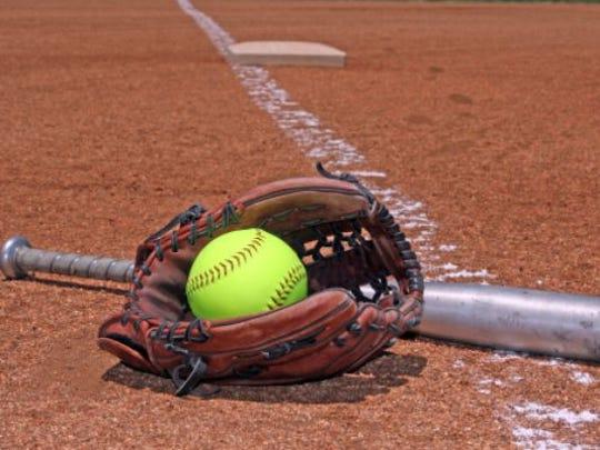 Softball, glove, and bat