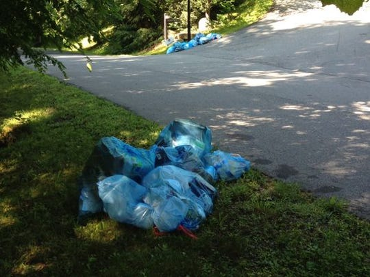The blue recycling bags themselves usually end up in the landfill, as they can't be recycled.